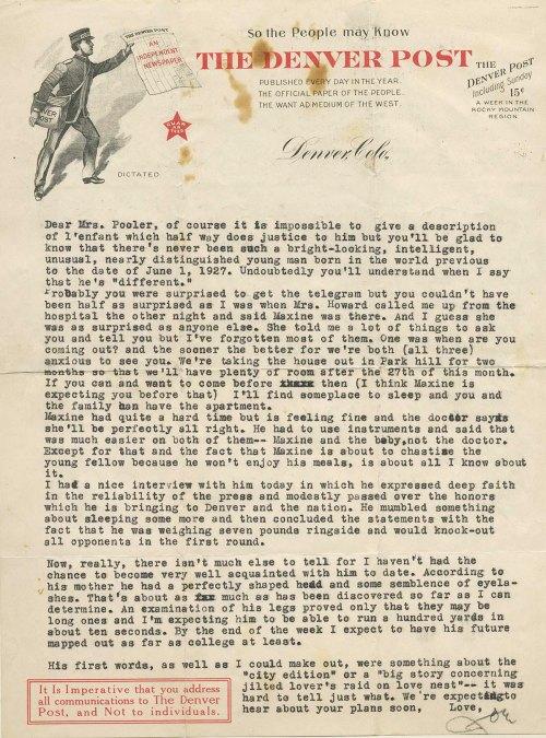 JoeSr letter on JoeJr Birth